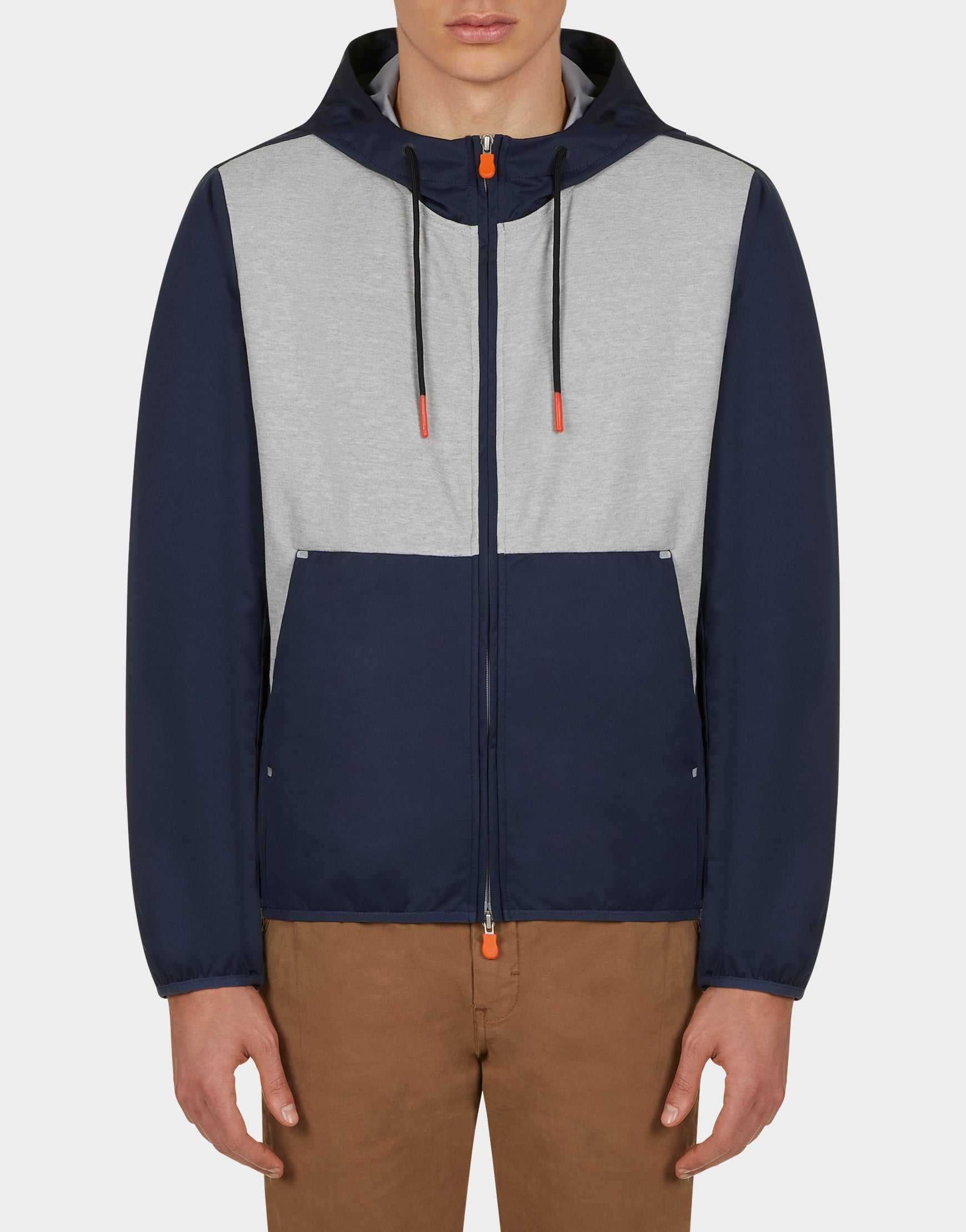 Mens FEBA Hooded Jacket in Navy Blue Light Grey