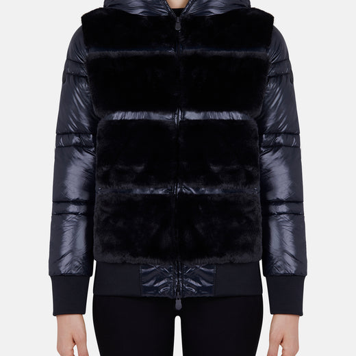 Womens Hooded Jacket in FURY Faux Fur