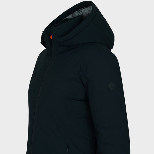 Womens MATT Hooded Coat in Black