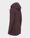 Womens MATT Hooded Coat in Burgundy Black