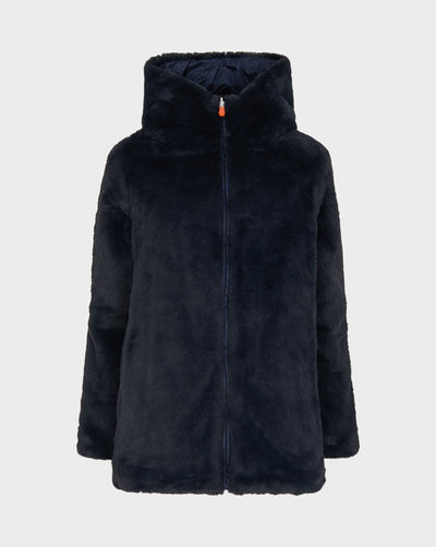 Womens FURY Faux Fur Coat in Blue Black