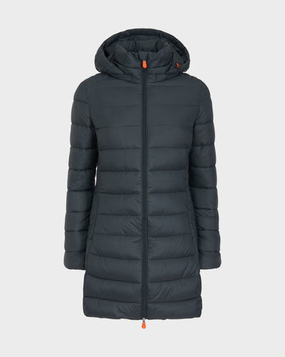 Women's GIGA Hooded Coat in Green Black
