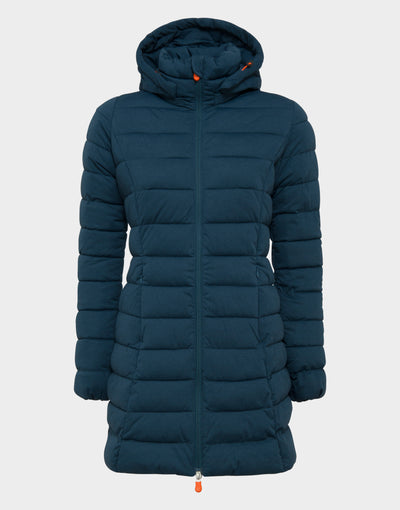 Womens ANGY Hooded Coat in Navy Blue Melange