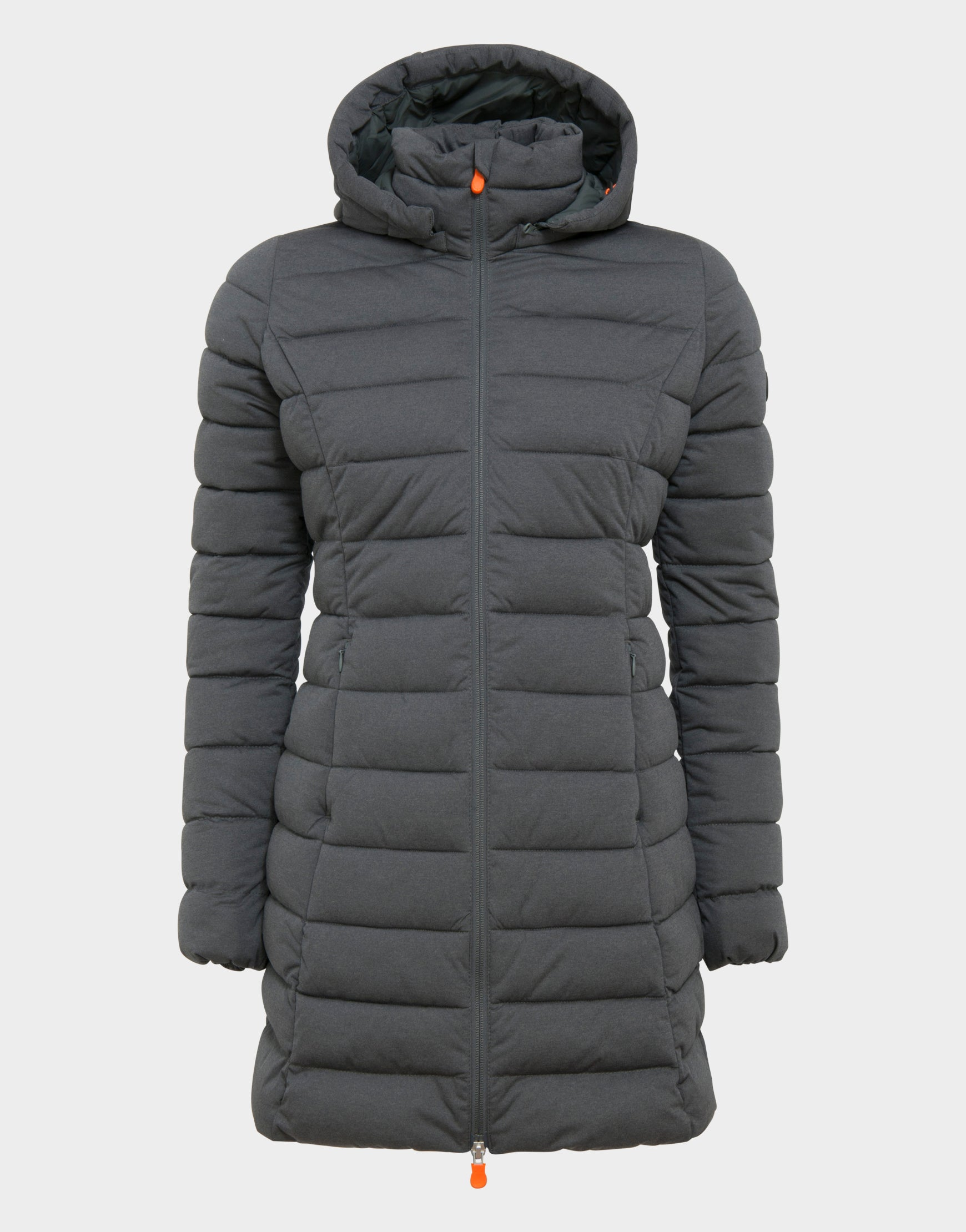 Womens ANGY Hooded Coat in Charcoal Grey Melange