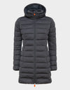 Womens SOLD Knitted Hooded Coat in Grey Black