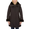 Womens Hooded Coat with Faux Fur Lining in Black