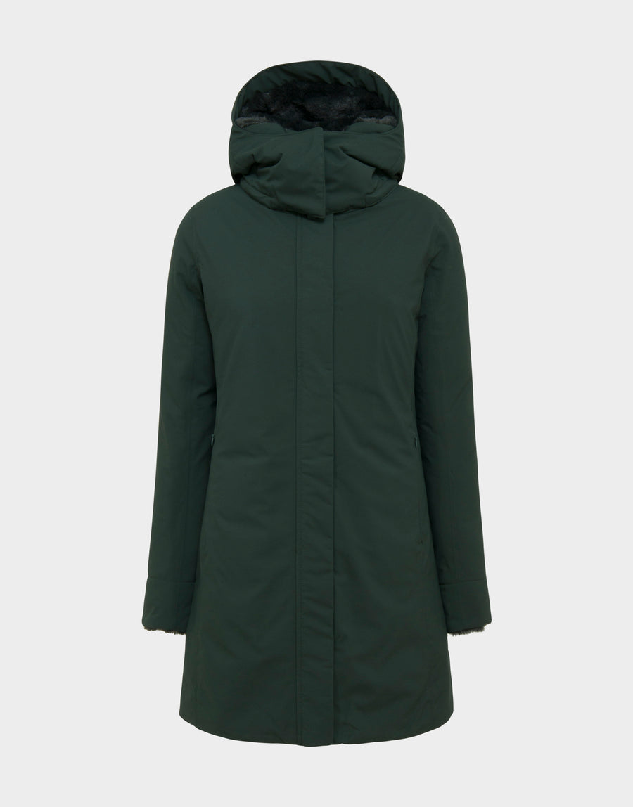 7a3db520f218 Womens SMEG Winter Detachable Hoodie Coat in Green Black