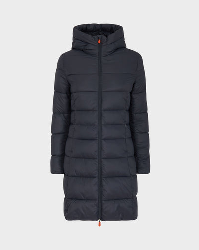 Womens GIGA Hooded Coat in Grey Black