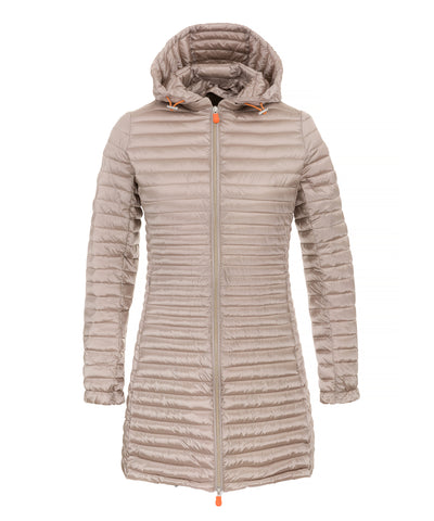 Women's Hooded Coat in Pearl Grey