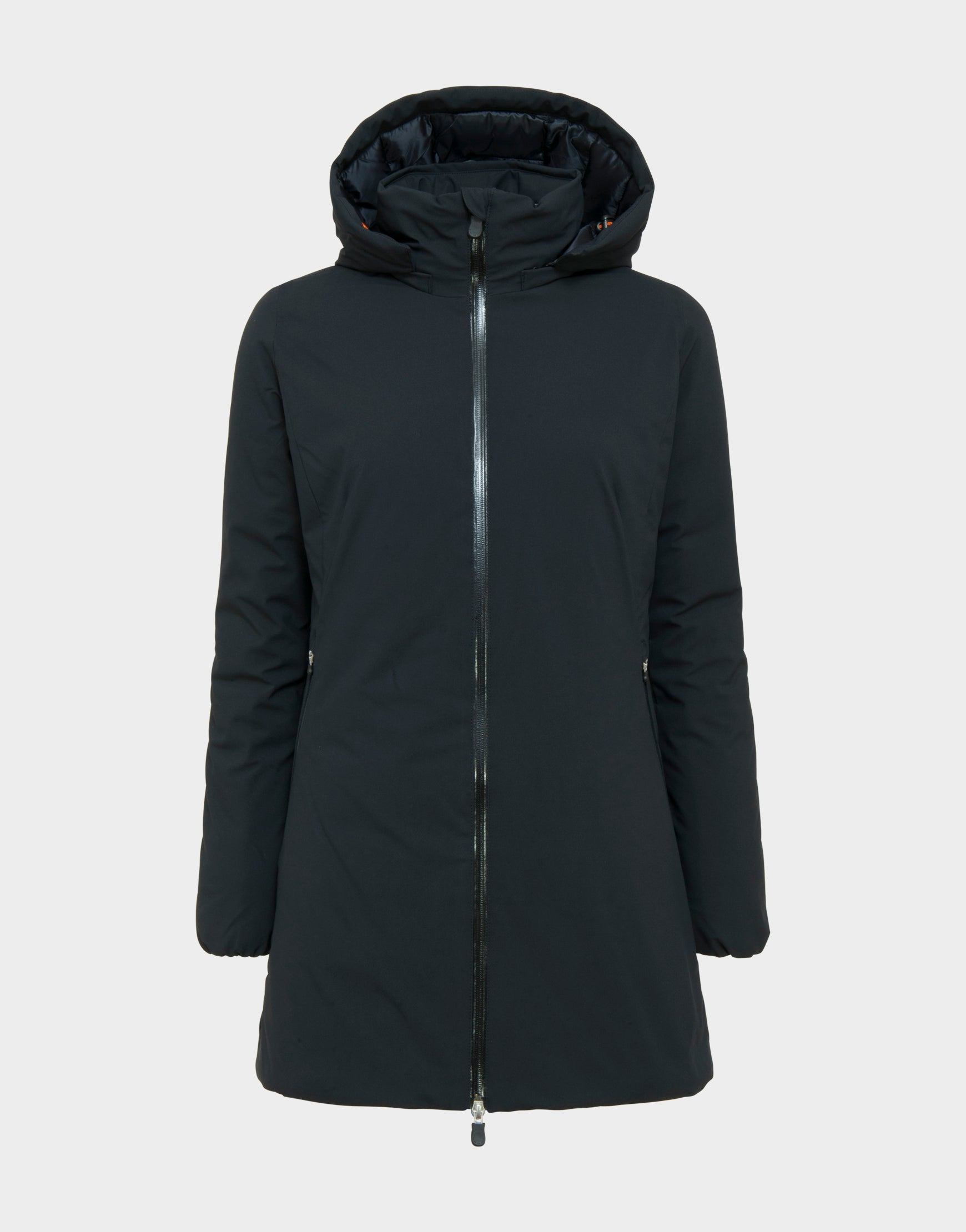Womens SMEG Hooded Winter Coat in Black