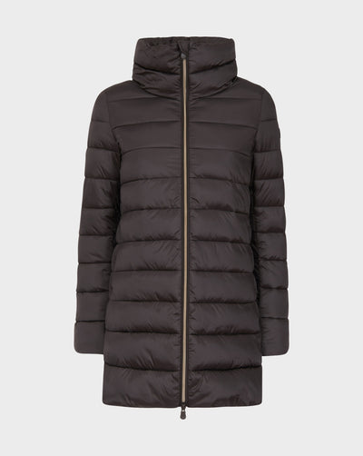 Womens IRIS Quilted Coat in Brown Black