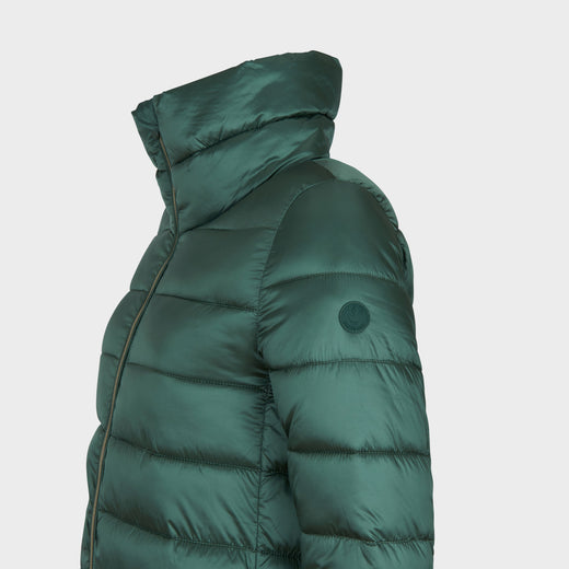 Womens IRIS Quilted Coat in Moss Green