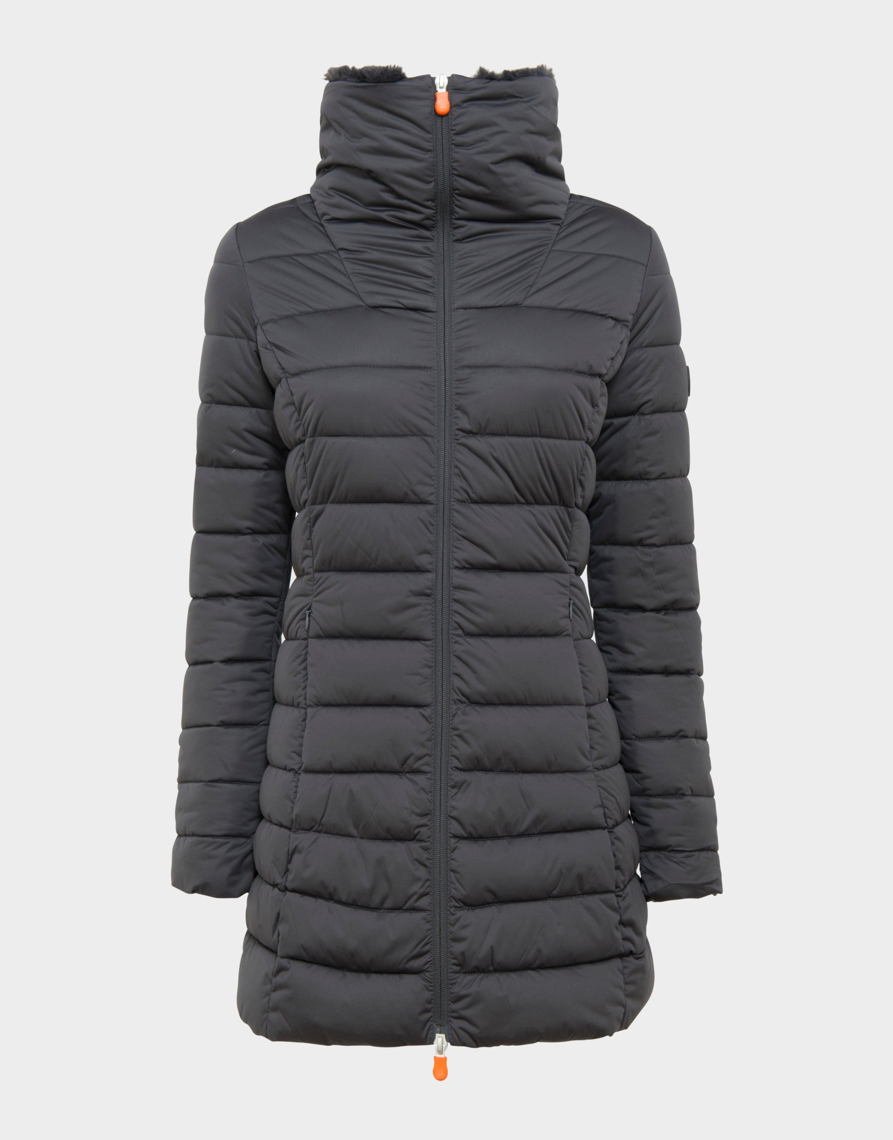 Womens SOLD Stand Up Collar Coat in Grey Black