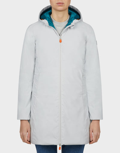 Womens MATY Hooded Coat in Frozen Grey