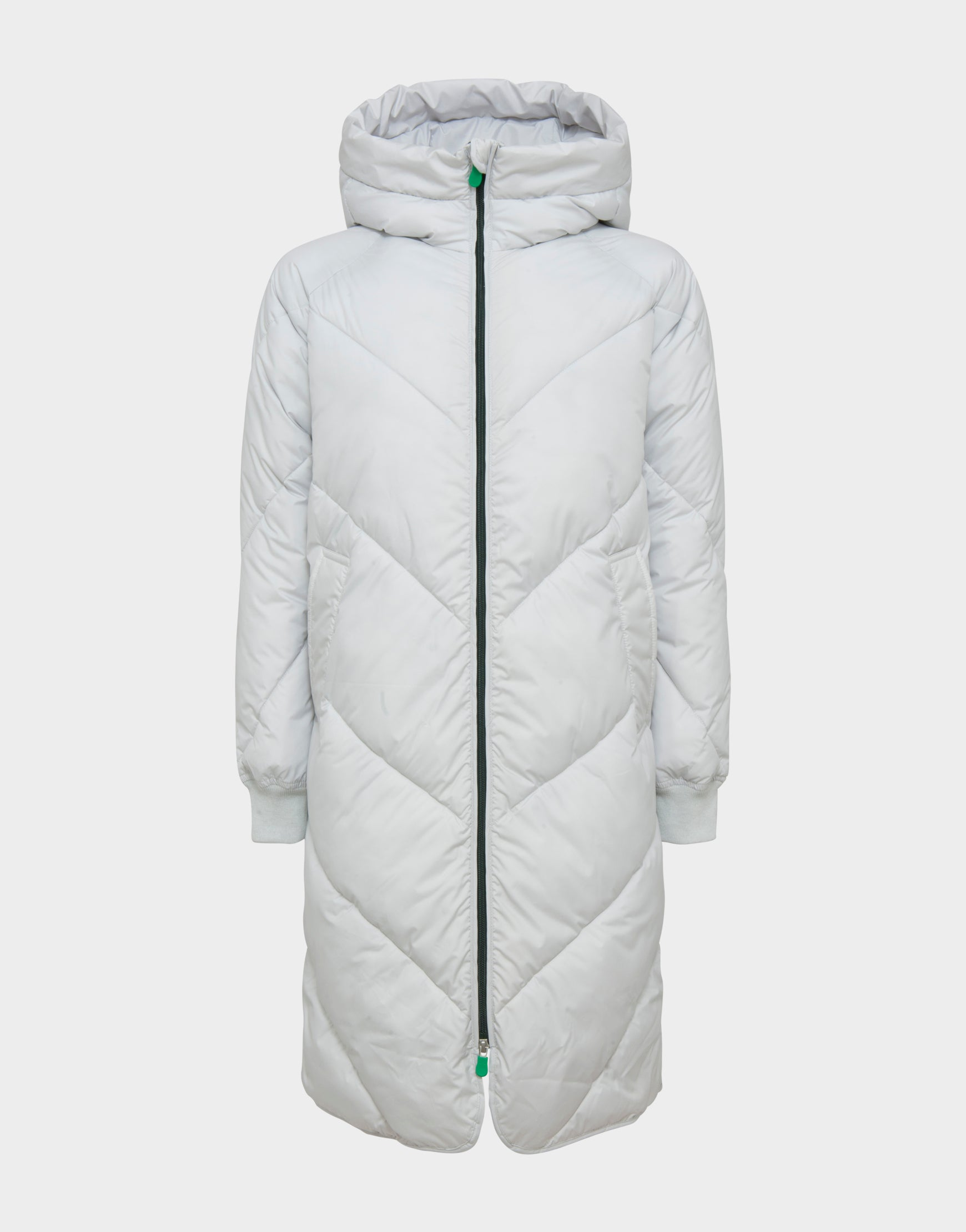 c855bd72b Womens RECY Quilted Hooded Coat in Frozen Grey