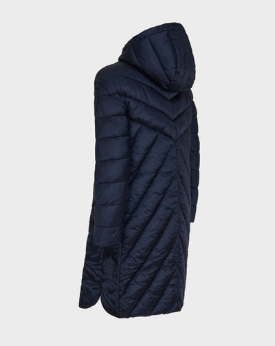 Womens IRIS Hooded Coat in Blue Black