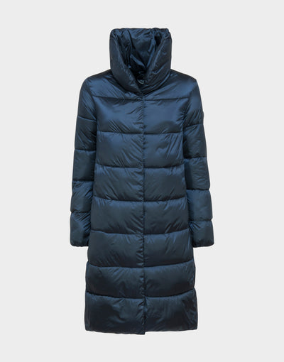 Womens IRIS Stand Up Collar Coat in Blue Black