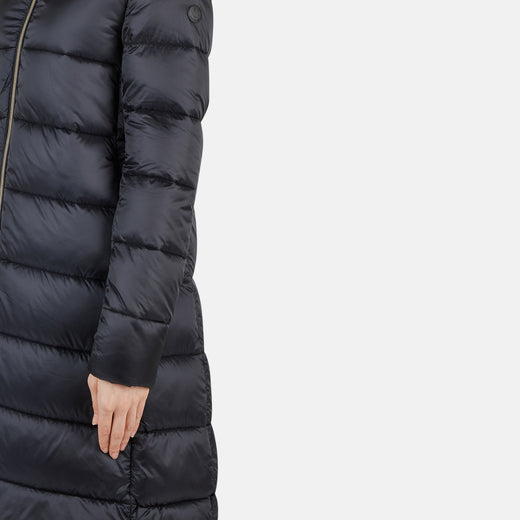 Womens Hooded Long Quilted Puffer Coat in IRIS Stand-up Collar