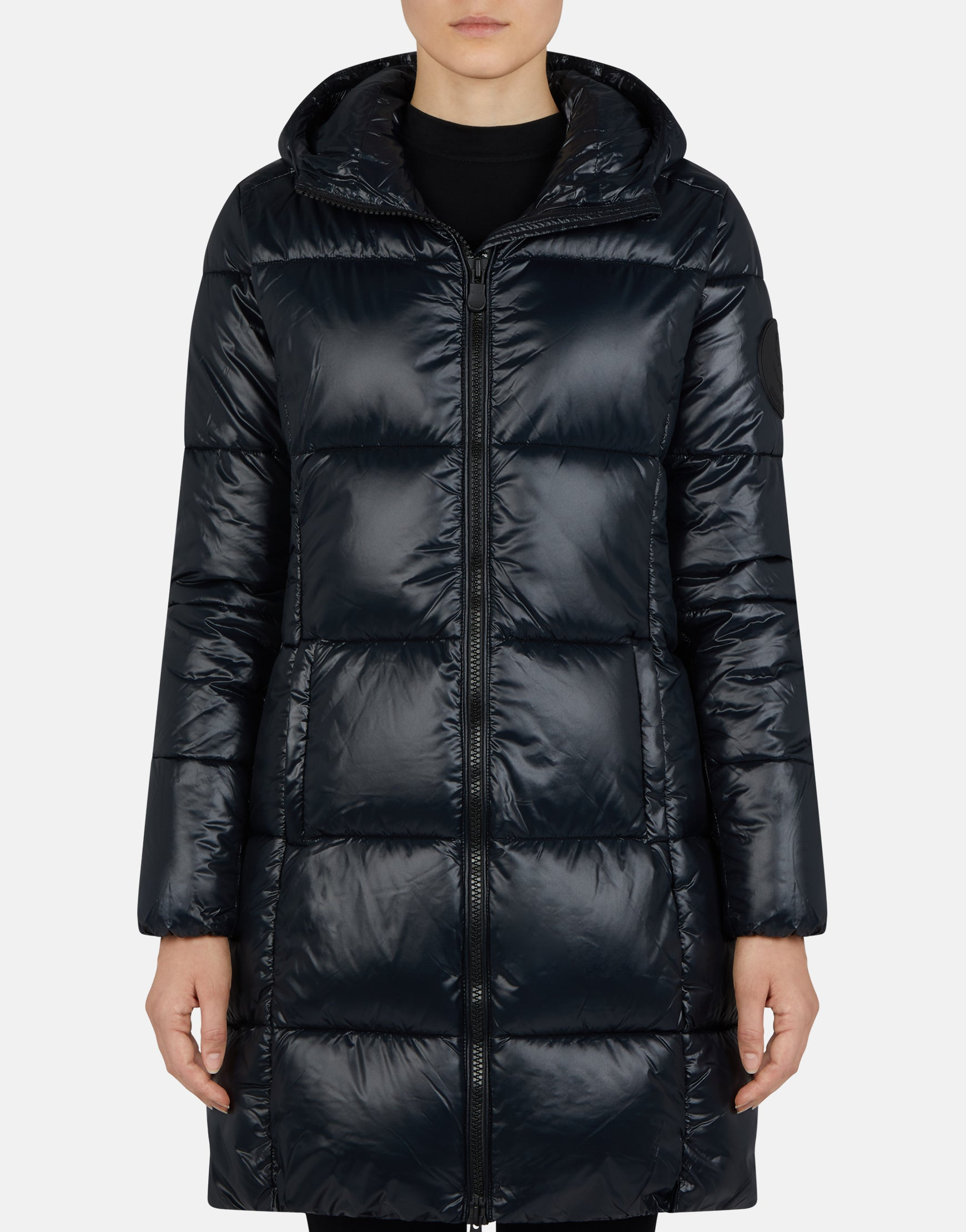 info for 4fbca ef4db Save The Duck Women's LUCK Maxi-Quilted Hooded Coat