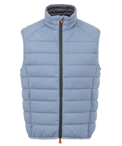Mens Stretch Puffer Vest in Blue Fog Melange
