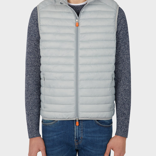 Mens GIGA Puffer Vest in Opal Grey