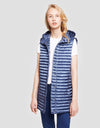 Womens IRIS Long Puffer Vest in Space Blue