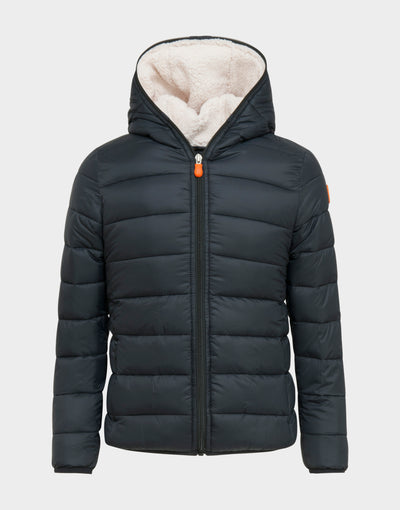 Boys GIGA Hooded Jacket with Faux Sheepskin in Black
