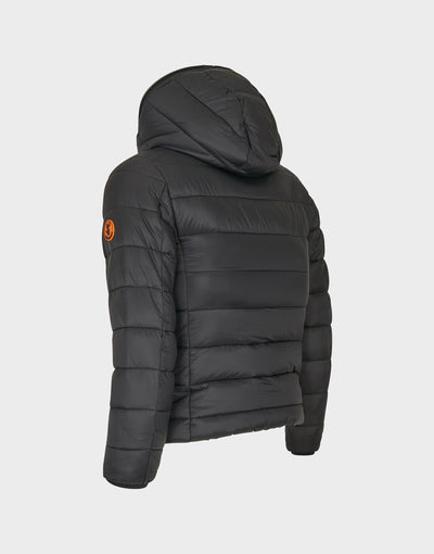 Girls GIGA Hooded Quilted Jacket in Black