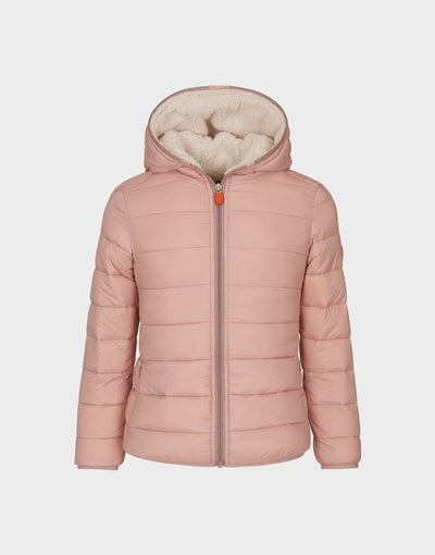 Girls GIGA Hooded Quilted Jacket in Blush Pink