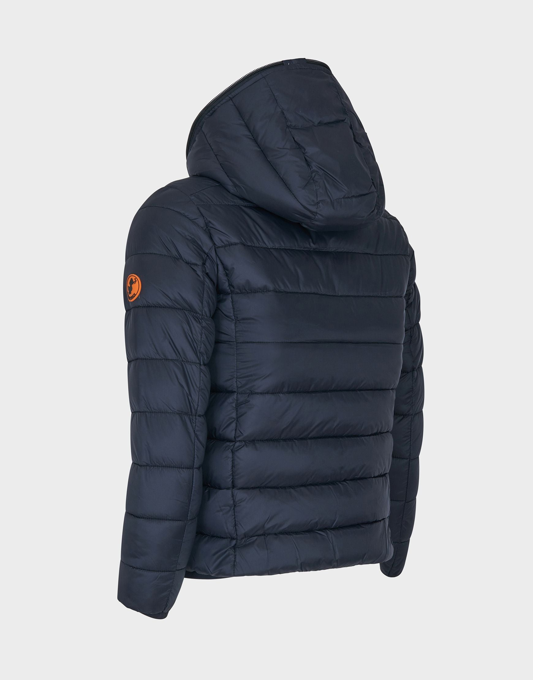Boys GIGA Hooded Quilted Jacket in Black
