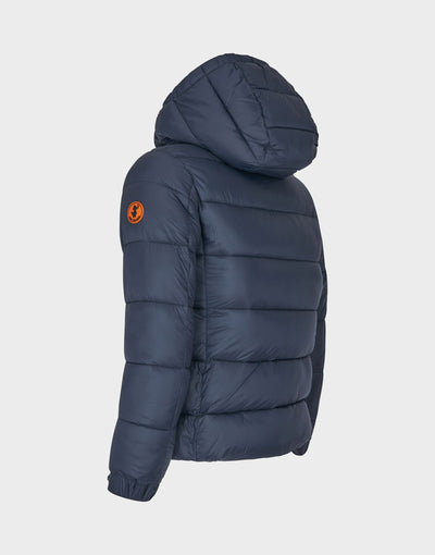 Boys GIGA Quilted Down Jacket in Grey Black