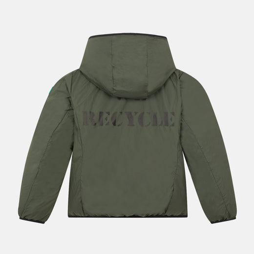 Lightweight Reversible Boys Hooded Jacket in RECY Made from Recycled Bottles