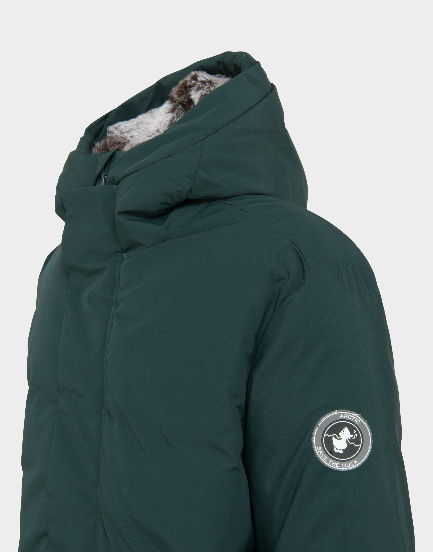Mens COPY WINTER Hooded Parka in Green Black