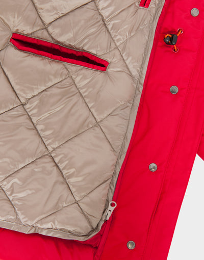 Womens COPY Winter Hooded Parka in Tango Red