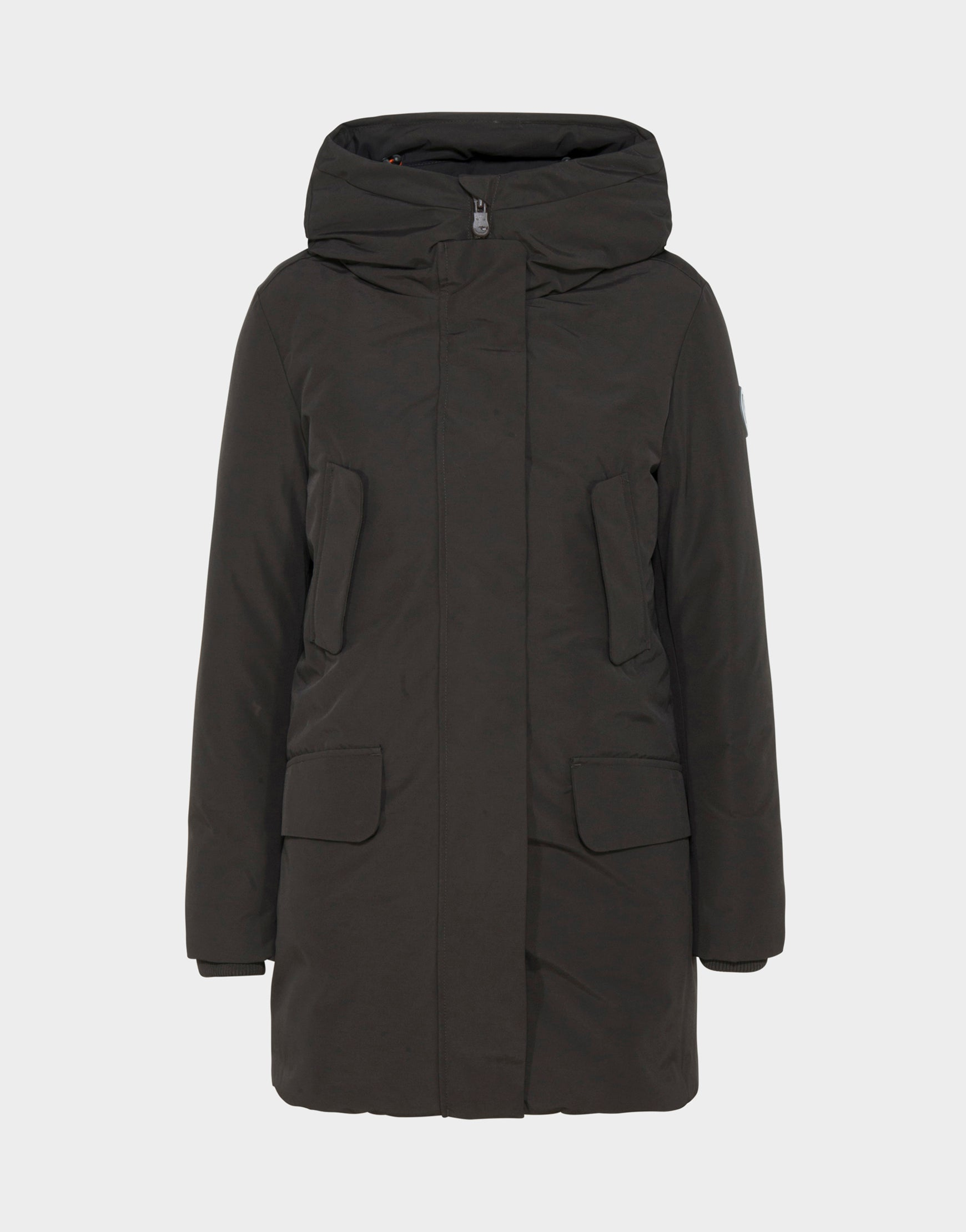 Womens COPY Winter Hooded Parka in Brown Black