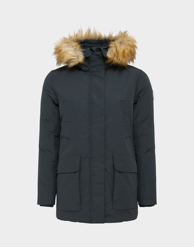 Womens COPY Hooded Parka in Grey Black