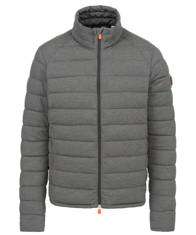 Mens Stretch Puffer Jacket in Opal Grey Melange