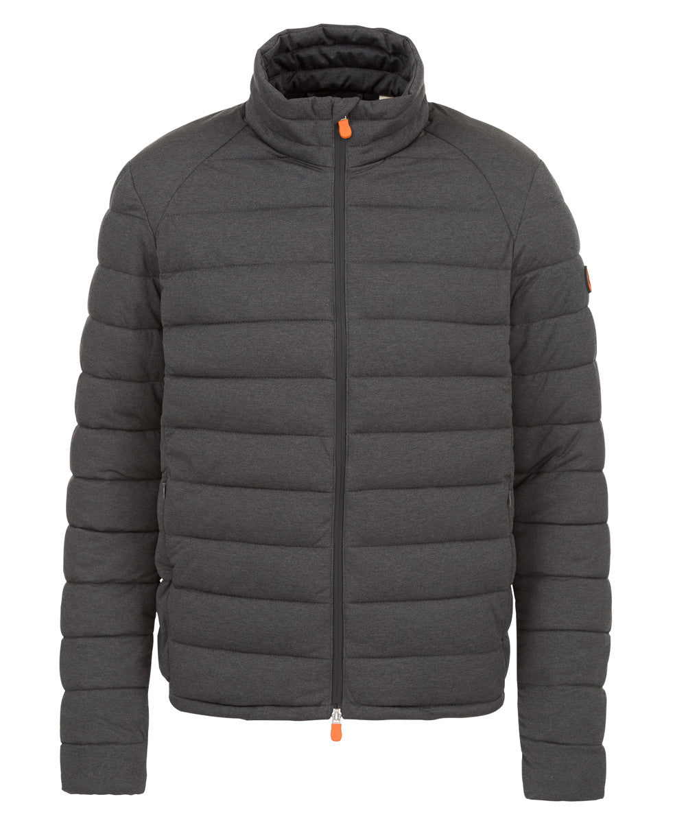 Mens Puffer Stretch Jacket in Charcoal Grey Melange