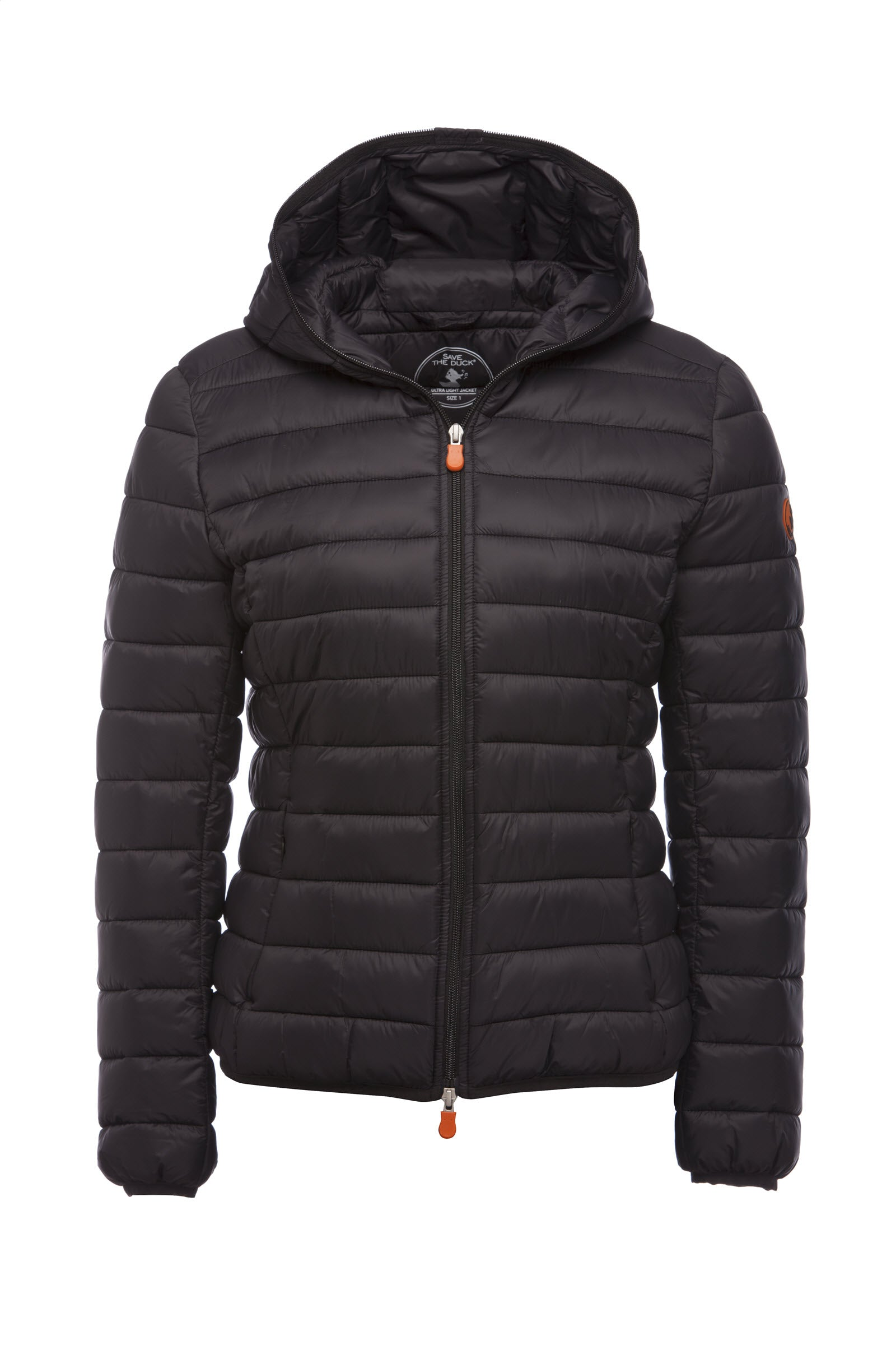 Womens GIGA Hooded Puffer Jacket in Black