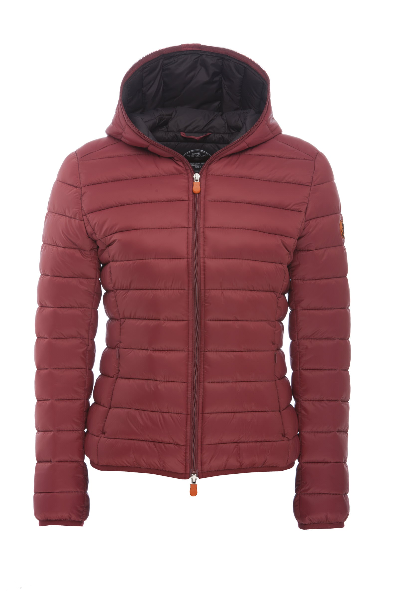 Women's GIGA Hooded Puffer Jacket in Burgundy