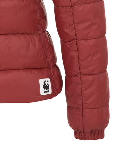 Women's Hooded Puffer Jacket in Tibetan Red
