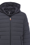 Men's Hooded Stretch Puffer Jacket in Grey Melange