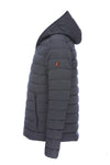 Mens ANGY Hooded Stretch Puffer Jacket in Grey Melange