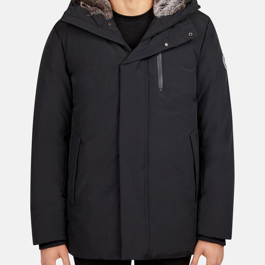 Mens Hooded Winter Parka in COPY with Faux Fur Lining