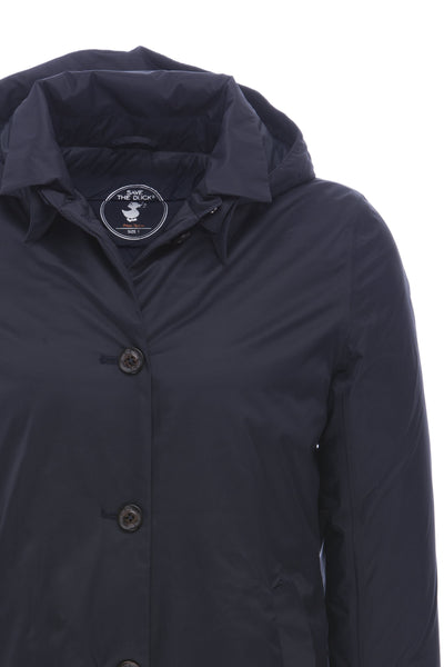 Women's Padded Raincoat in Blue Black
