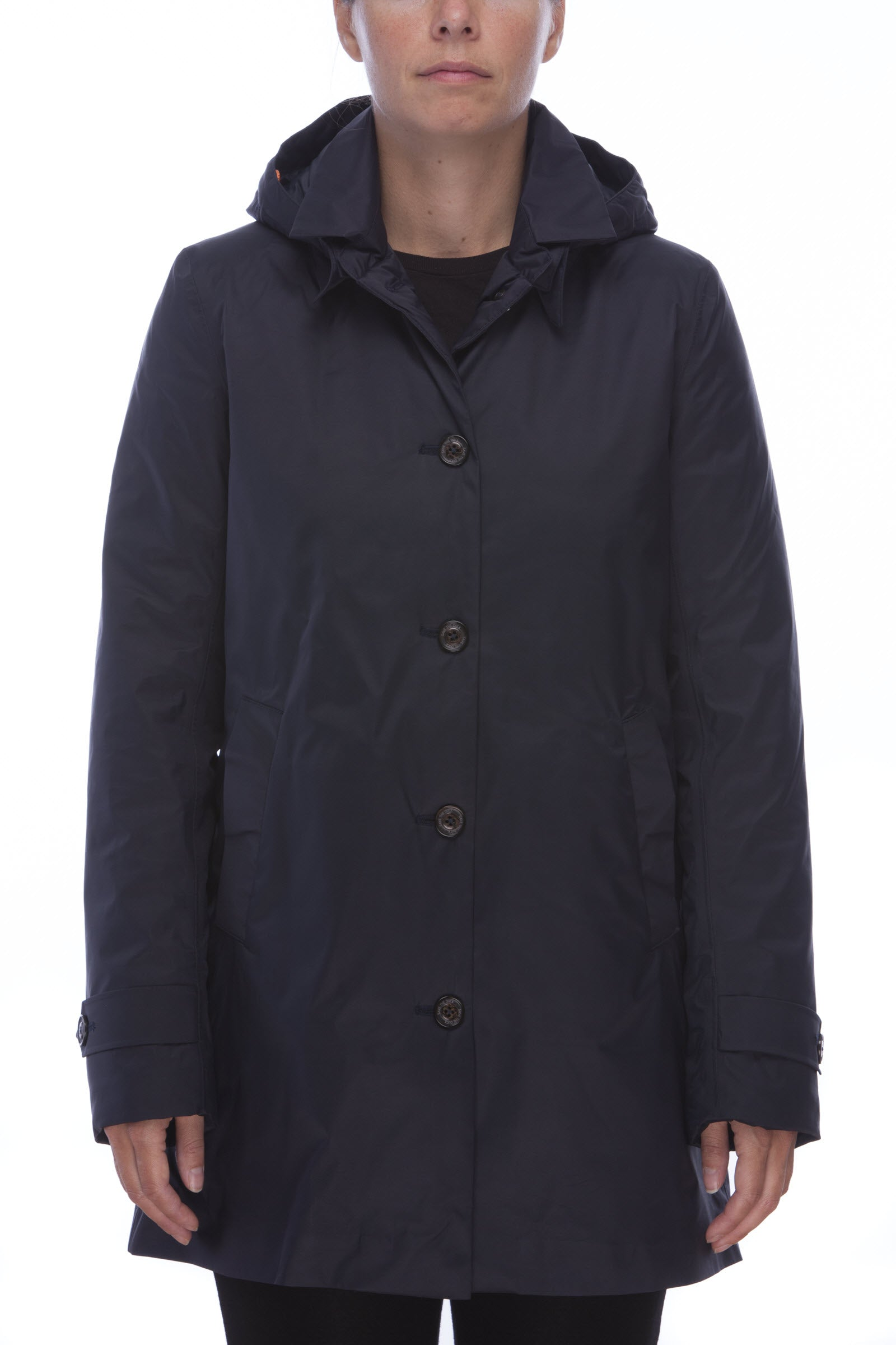 Womens Padded Raincoat in Blue Black