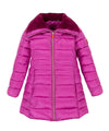 Girl's IRIS Faux fur Collar Coat in Ibis Rose