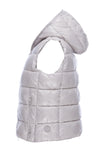 Womens Sleek Hooded Vest in Silver Grey