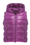 Womens Sleek Hooded Vest in Dahlia Purple