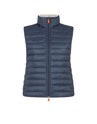 Save The Duck Women's GIGA Stand Collar Vest with Lambskin Lining